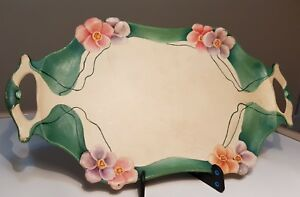 Antique Orivit Art Nouveau Metal Decorative Serving Platter Tray Hand Painted
