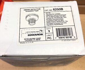 Edwards 6250b Smoke Detector Ionization Type Fire Alarm New