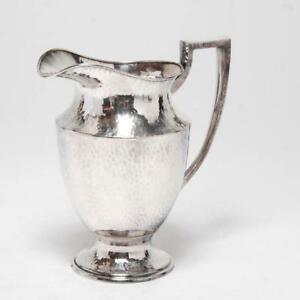 Antique Apollo Sheffield Nickel Silver Hand Hammered Pitcher Bernard Rice S Sons