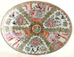 Antique Chinese Rose Medallion Platter 19th Century 14 3 4 Inches Long