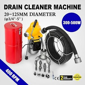 100ft 3 4 Sewer Snake Drain Auger Cleaner Machine Sectional Electric 400w