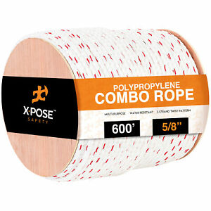 5 8 X 600 Poly combo 3 strand Safety Rope Anchor Line Climbing Rope