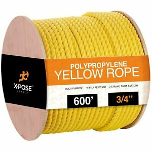 3 4 X 600 Twisted Yellow Poly Rope 3 strand Safety Anchor Line Climbing Rope