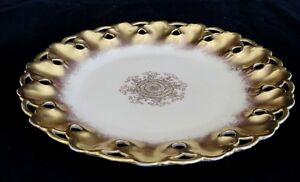 Vintage W G Guerin C Gold Open Pierced Reticulated Floral 9 Plate Dish