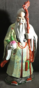 Vintage Chinese Buddha Immortal Statue Porcelaih Famille Rose Handpainted Ms9