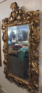 Antique Handcarved Italian Rocco 18 19th Century Framed Mirror Ornate 67 X 40