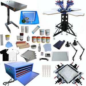 4 Color 4 Station Silk Screen Printing Kit Machine Press Equipment T shirt Diy