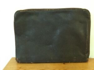 Vtg Dark Brown Leather Multi Pocket Business Portfolio Case Organizer Attache