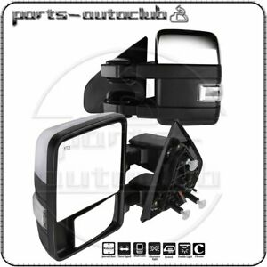Chrome For 04 14 Ford F150 Power Heated Auxiliary Clearance Signal Tow Mirrors