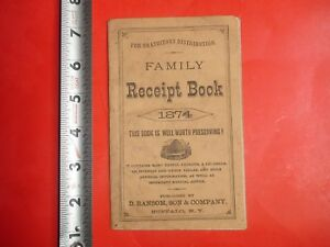 Hs513 Antique 1874 Family Receipt Book D Ransom Son Co Cure For Cancer