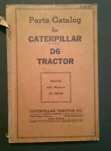 Jk073 Rare 1938 Caterpillar D6 Tractor Parts Catalog Peoria Il
