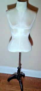 Vintage Female Mannequin Torso Dress Form Clothing Display Stand Cream