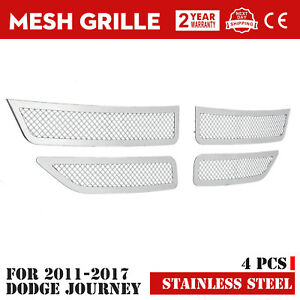 Mesh Grille Fits For 2011 2018 Dodge Journey Front Grille Chrome Color Exterior