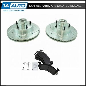 Nakamoto Front Semi Metallic Brake Pads Performance Drilled Slotted Rotor Kit