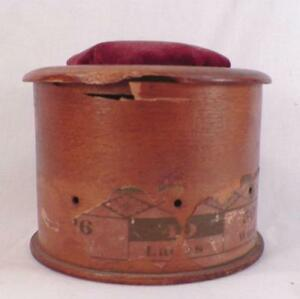 Antique Wooden Sewing Box Thread Ladies Work Box Velvet Pincushion As Is