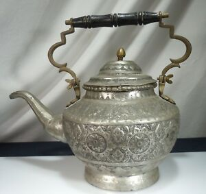 Islamic Large Silvered Copper Kettle 52429