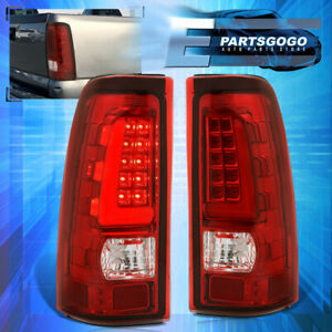 Red Lens Led Tube Tail Lights Lamps For 1999 2006 Chevy Silverado Gmc Sierra