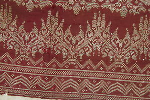 Vintage Metallic Gold Burgundy Embroidery Brocade Songket Royal Sash Runner Sg48