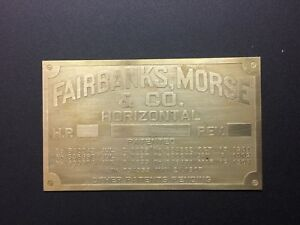 New Fairbanks Morse Horizontal Brass Data Tag Antique Gas Engine Hit Miss