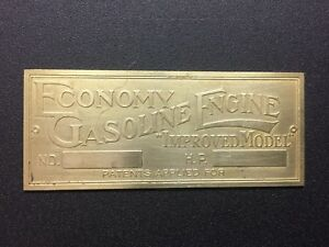 New Economy Brass Data Tag Antique Gas Engine Hit Miss