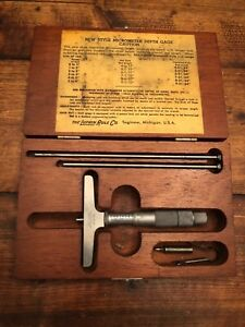 Vintage Lufkin Rule Co 513 Micrometer Depth Gauge Saginaw Mi Made In Usa Box
