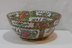 Antique Chinese Canton Famille Rose Medallion Punch Bowl 11