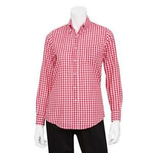 Chef Works W500wrc xs Women s Red Gingham Dress Shirt xs
