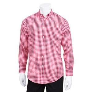 Chef Works D500wrc m Men s Red Gingham Dress Shirt m