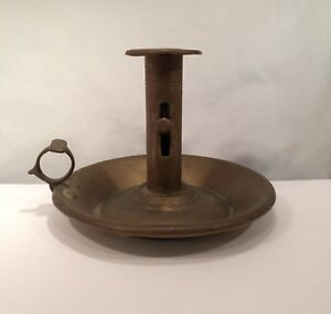 Antique 19th Century Brass Push Up Chamber Candlestick Candle Holder Finger