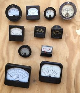 Lot Of 11 Vintage Electrical Panel Meters Steampunk Amps Volts
