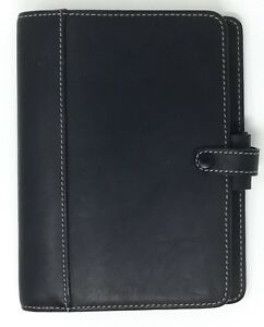 Filofax 2000 Personal Hamilton Black Leather Organizer Pages Map Ruler