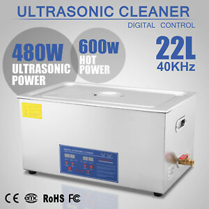 New Stainless Steel Ultrasonic Cleaner 22 L Liter Industry Heated Jewelry