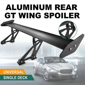 Universal Hatch Adjustable Aluminum Gt Rear Trunk Wing Racing Spoiler Usa