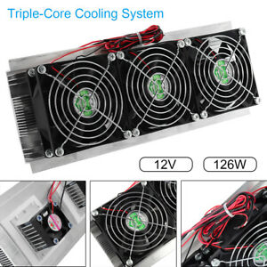 180w 12v Thermoelectric Peltier Refrigeration Cooling System Kit Cooler 3 Fan