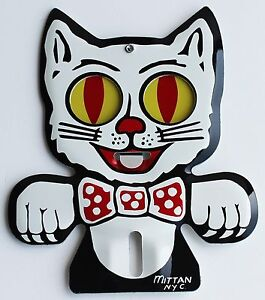 Cat License Plate Topper With Wagging Tongue And Eyes Aluminum