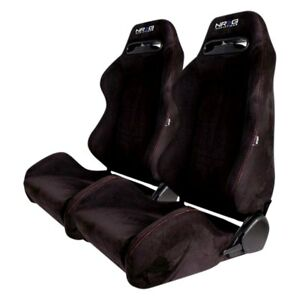 Nrg Innovations Type R Style Bucket Seats Black Suede Pair Left And Right