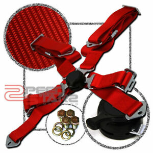 2 Strap 4 Point Camlock Harness Bar Adjustable Red Racing Seat Be