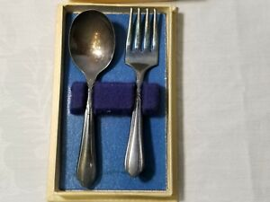 Fork Spoon Set Nursery Silver Plate A1 Vintage Baby Silverware Child S W Box