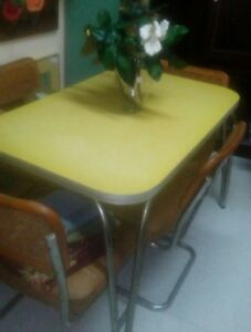 Vintage Formica Yellow Kitchen Table