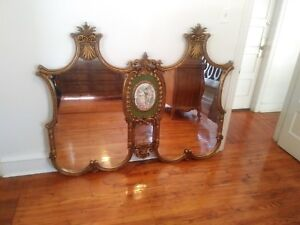 Large Rococo Antique Gold Gilt Over Mantle Double Mirror