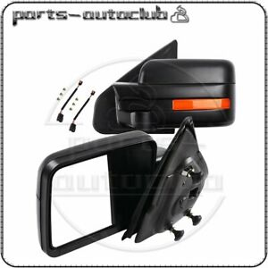Black For 2004 2014 Ford F 150 Power Heated Side Mirrors Pair Driver Passenger