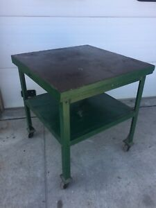 Welding Fabrication 36 x36 Cast Iron Top Set Up Table On Casters Angle Base