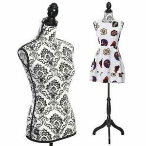 Female Mannequin Body Torso W Black Tripod Stand For Clothing Dress Display