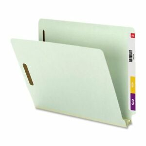 Smead 34715 Gray green End Tab Pressboard Fastener File Folders With smd34715