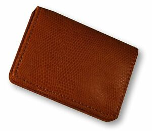 Budd Leather Company Lizard Printed Leather Business Card Case Tangerine New