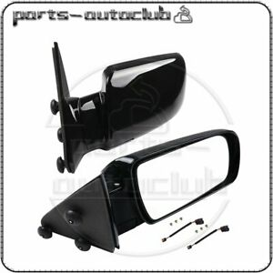 Pair For 88 98 Gmc Chevy Pickup Truck Side View Manual Mirrors W Metal Bases