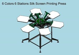 New Double Rotary 6 Color 6 Station Silk Screen Printing Press