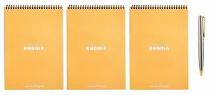 Rhodia Wirebound Pad 8 3 X 11 7 Inches Orange Dot 3 count Bundle With A New