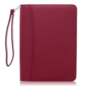 Small Zippered Business Padfolio With Junior Legal Notepad Burgundy Pu New
