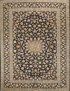 Large Navy Blue 10x14 Signed Kashan Persian Oriental Area Rug 13 6 X 10 1